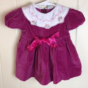 Vintage Pink Party Dress w/ Collar Accent
